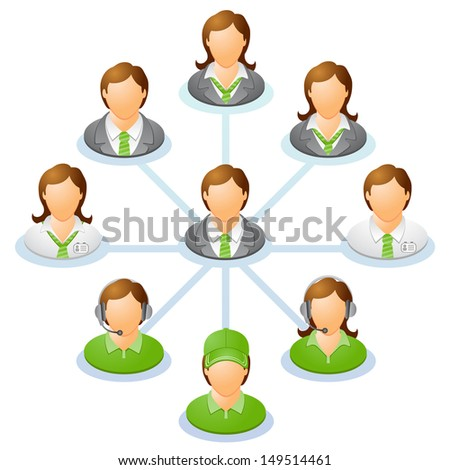 Teamwork flow chart. Network of people. Spider Diagram. Raster version, vector file also included in the portfolio. - stock photo