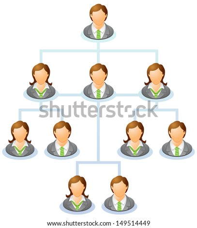 Teamwork flow chart. Network of people. The hierarchical diagram. The hierarchical organization management system. Raster version, vector file also included in the portfolio. - stock photo
