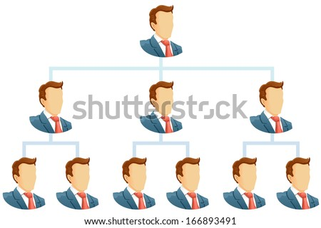 Teamwork flow chart.  The hierarchical organization management system.  - stock photo