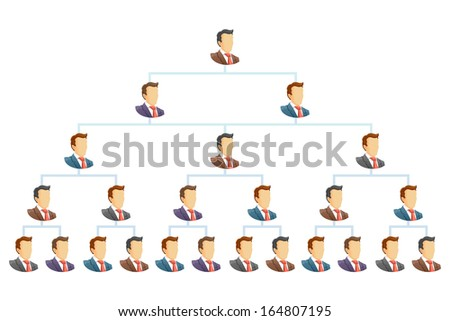 Teamwork flow chart.  The hierarchical organization management system. Raster version - stock photo