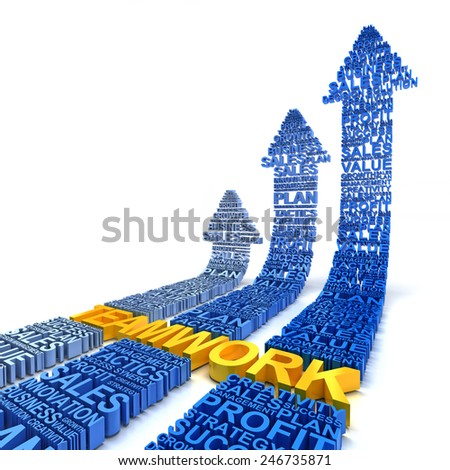 Teamwork for business improvement, 3d render, white background - stock photo