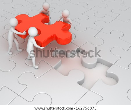 teamwork, four 3d humans and one missing puzzle piece