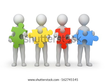 teamwork, four persons with different puzzles, 3d image with work path - stock photo