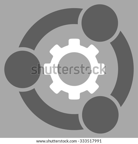 Teamwork glyph icon. Style is bicolor flat symbol, dark gray and white colors, rounded angles, silver background.
