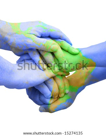 Teamwork Hands Painted Like a Map Representing Universal Global Responsibility - stock photo