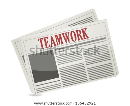 teamwork headline on a newspaper. illustration design over white