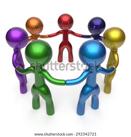 Teamwork human resources  social network circle people diverse characters friendship individuality team seven different cartoon friends unity meeting icon concept colorful. 3d render isolated - stock photo