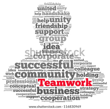 Teamwork info-text graphics and arrangement concept on white background (word cloud) - stock photo
