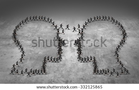 Teamwork leadership business concept or employee poaching symbol as a group of running businesspeople shaped as two heads meeting together as an icon for human resource management or trade strategy. - stock photo