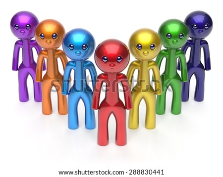Teamwork leadership character men crowd businessman team leader individuality seven cartoon persons icon. Social relationship friends concept 3d render isolated - stock photo