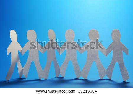 teamwork love help and family concept with paper man - stock photo