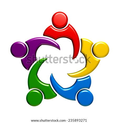 Teamwork meeting group of five people.  - stock photo