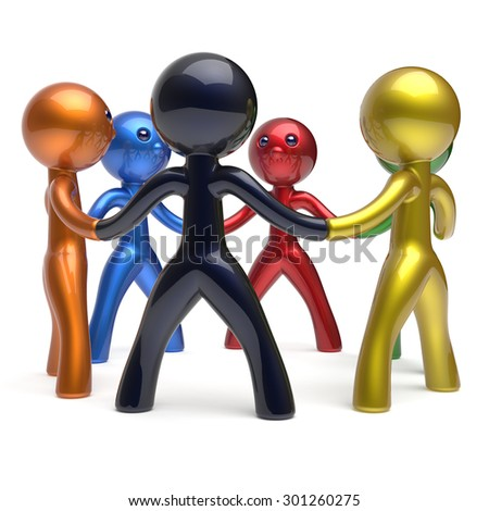 Teamwork men circle individuality people social network characters human resources partnership team six different cartoon friends unity meeting brainstorm icon concept colorful 3d render isolated - stock photo
