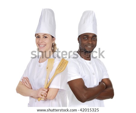 Teamwork of kitchen on a over a white background - stock photo