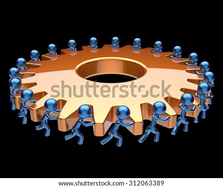 Teamwork partnership gearwheel cogwheel characters business process team work men workers turning gear wheel together manpower cooperation make efficiency concept. 3d render isolated on black - stock photo