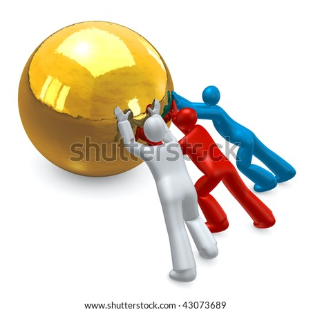 Teamwork -  people  working together,  pushing a  golden target ball - stock photo
