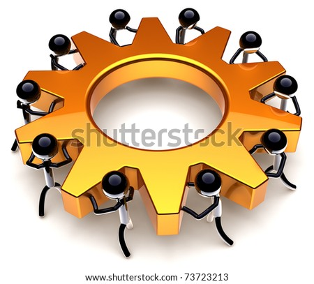 Teamwork process. Business efficiency progress result. Success of workers team concept. Stylized black peoples turning together an golden gear wheel. Detailed render 3D. Isolated on white background - stock photo