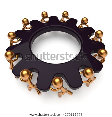 Teamwork process business man partnership turning black gear together. Workers team cooperation relationship community creative efficiency concept. 3d render isolated on white - stock photo