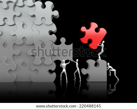 Teamwork. Puzzle. High resolution 3d render. - stock photo