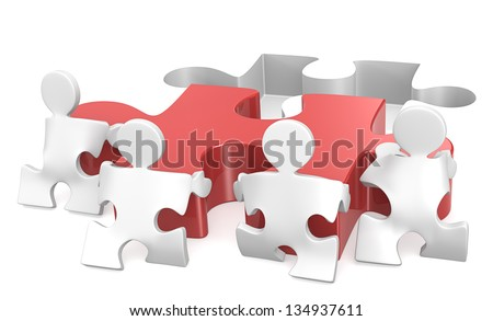 Teamwork. Puzzle People x4 helping out putting piece in place. Red. - stock photo
