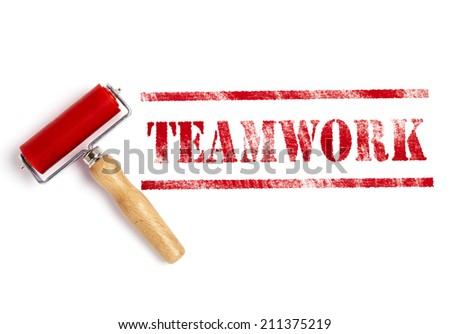 teamwork red ink with ink roller