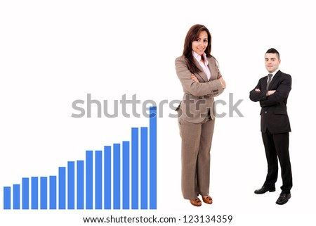 Teamwork standing with graph on white background - stock photo