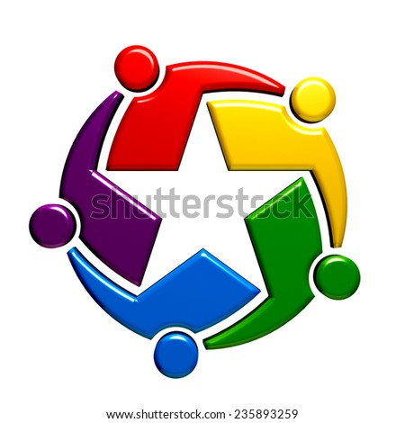 Teamwork star group of five people.  - stock photo