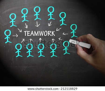 Teamwork Stick Figures Showing Working As A Team