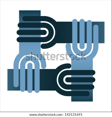 Teamwork symbol - circle of hands, chain isolated on white