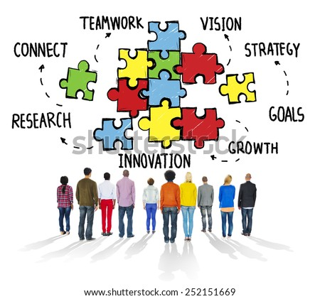 Teamwork Team Connection Strategy Partnership Support Puzzle Concept - stock photo