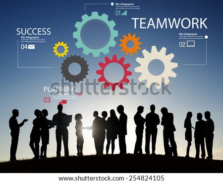 Teamwork Team Group Gear Partnership Cooperation Concept - stock photo