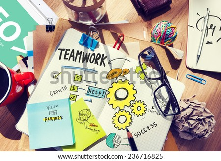 Teamwork Team Together Collaboration Desk Office Workplace Concept - stock photo