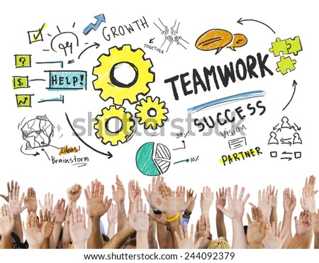 Teamwork Team Together Collaboration Hands Volunteer Unity Concept - stock photo
