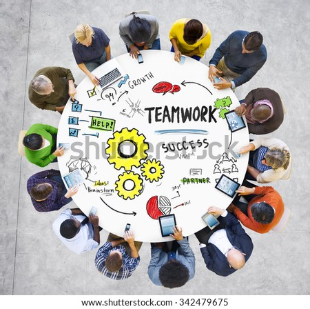 Teamwork Team Together Collaboration Meeting Technology Communication Concept - stock photo