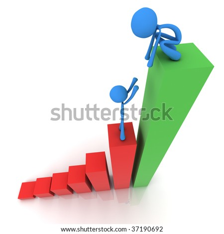 Teamwork to get to the top of a business graph - stock photo