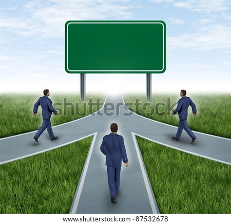 Teamwork with blank road sign for mergers and partnerships on the same road as a team  with vision for success of a company by working together represented by three roads merging together into one. - stock photo