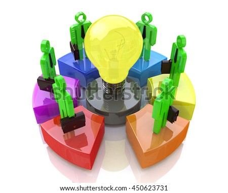 Teamwork with idea concept light bulb. Business idea in the design of information related to business. 3d illustration - stock photo