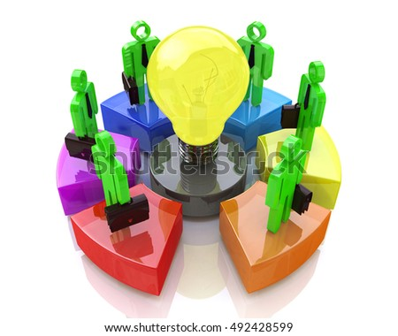 Teamwork with idea concept light bulb. Business idea in the design of information related to business. 3d illustration