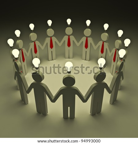 Teamwork with idea light bulbs - stock photo