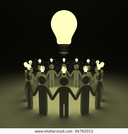 Teamwork with idea light bulbs above their heads - stock photo