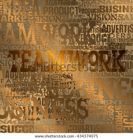 Teamwork Word Cloud Concept Background.  Gold Style - stock photo