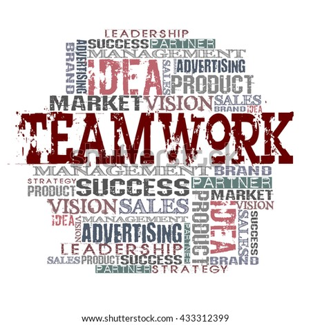 Teamwork Word Cloud Concept  Different Words on white background  - stock photo