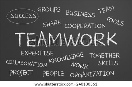Teamwork word cloud written on a chalkboard - stock photo