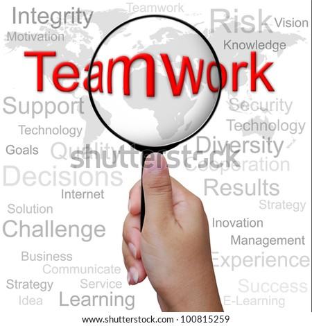 Teamwork, word in Magnifying glass ,business background - stock photo