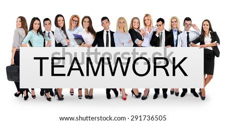 Teamwork word writing on white banner - stock photo