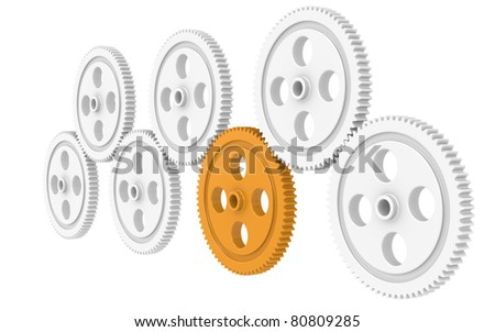 Teamwork. 7X Gears, one Orange. Isolated - stock photo
