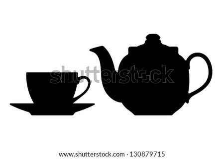 Teapot and cup. Silhouettes on a white background. - stock photo