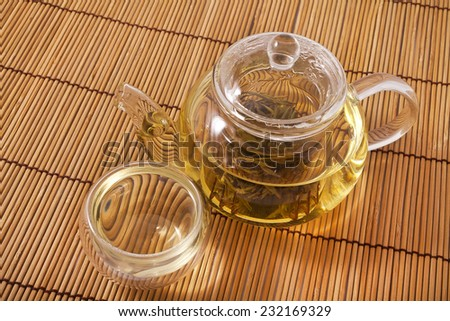 Teapot and glass cups with the chinese jasmine tea Mo Li Long Zhu(Jasmine Pearls)  - stock photo
