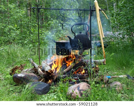Teapot and kettle on a fire in the summer