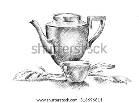 teapot and teacup sketch, hand drawn illustration of tea party or tea luncheon  - stock photo